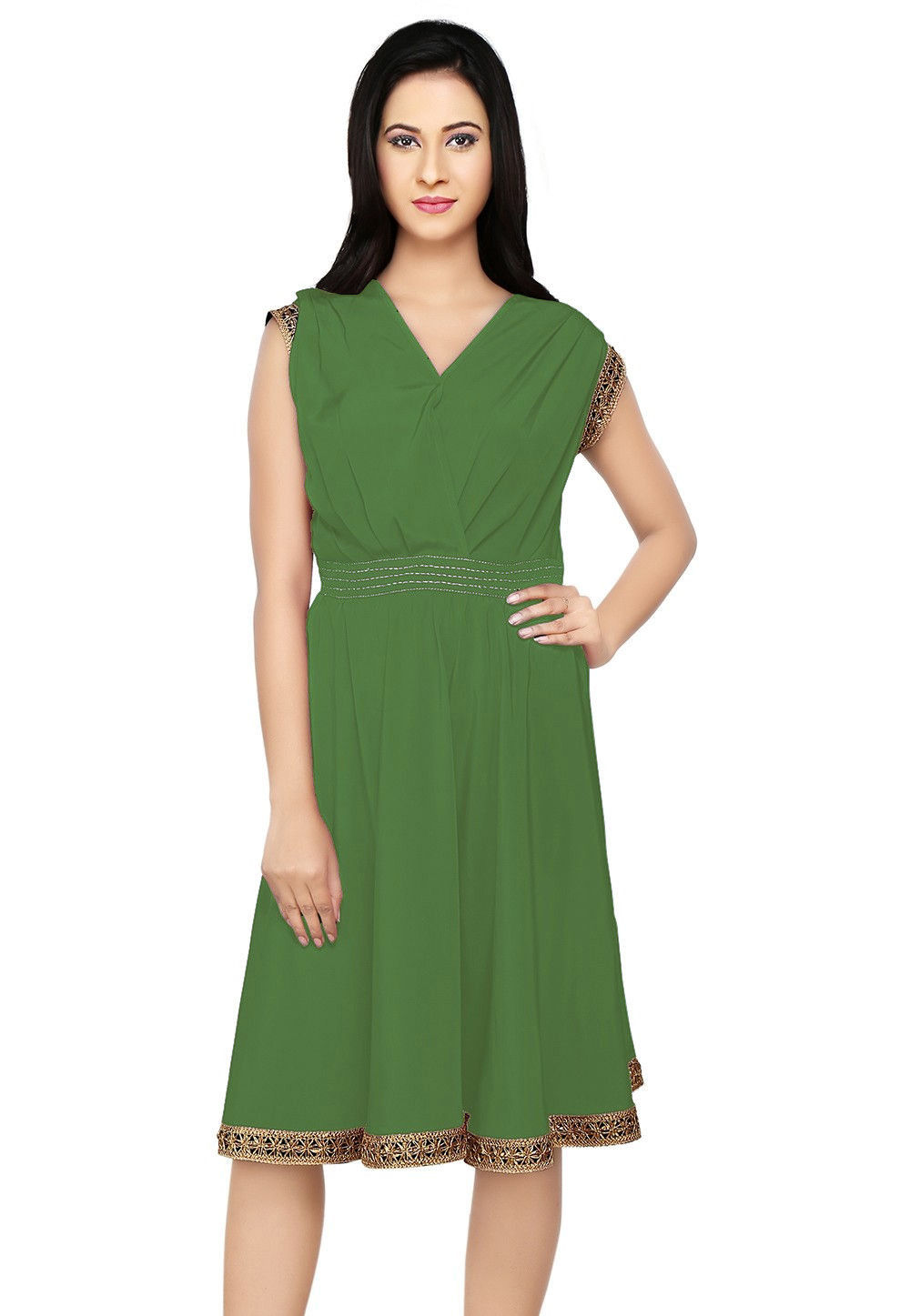Embroidered Crepe Dress in Dusty Green