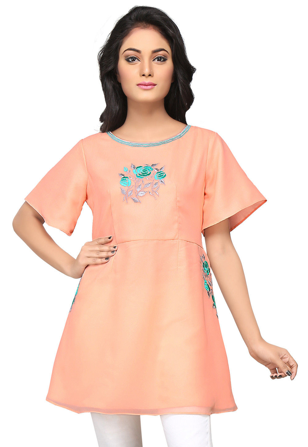Embroidered Georgette Tunic in Peach