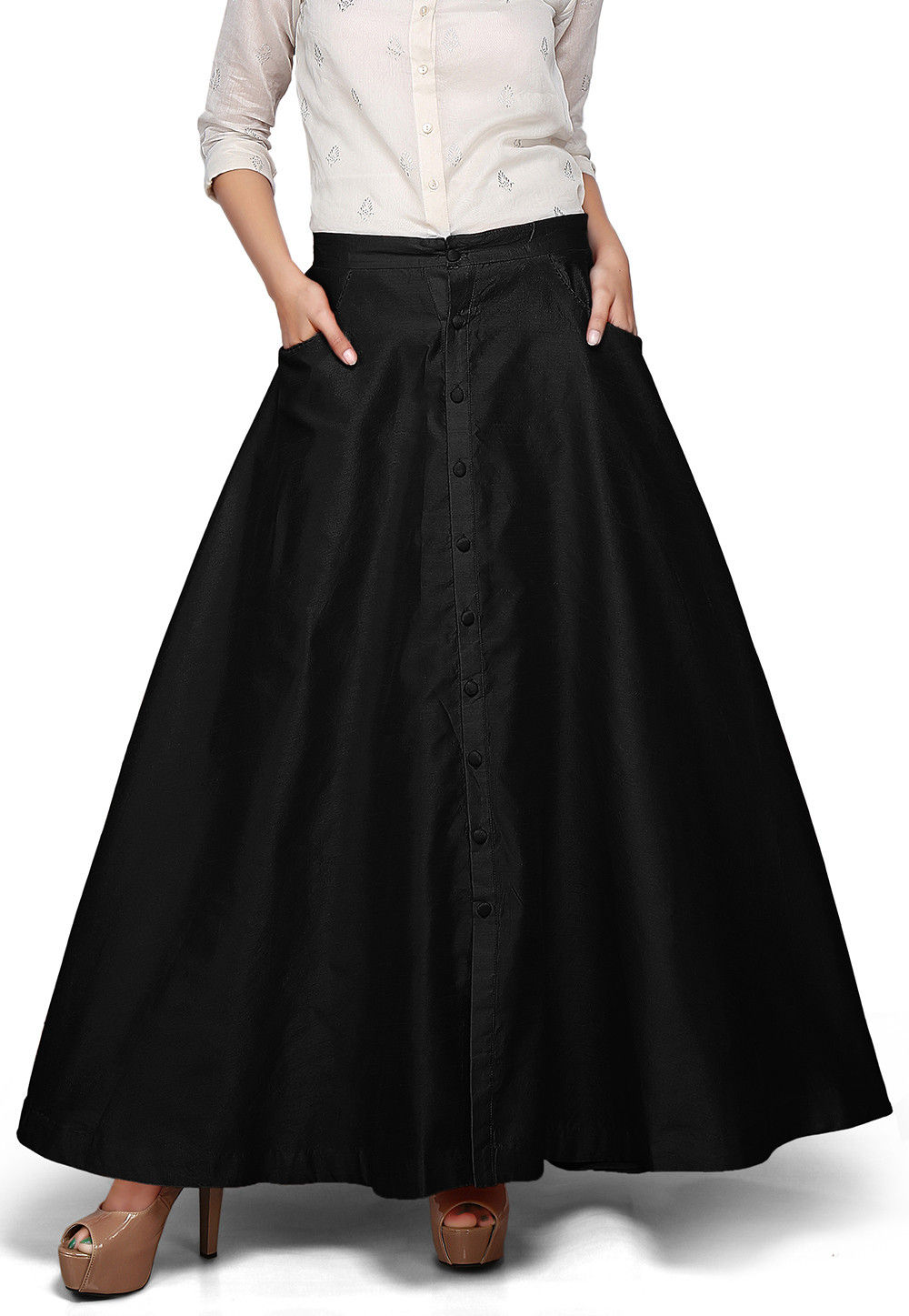 Plain Dupion Silk Long Skirt in Black