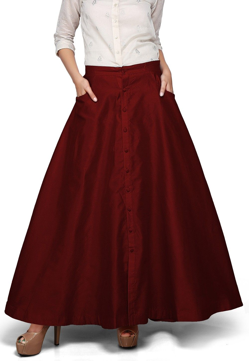 Plain Dupion Silk Long Skirt in Maroon