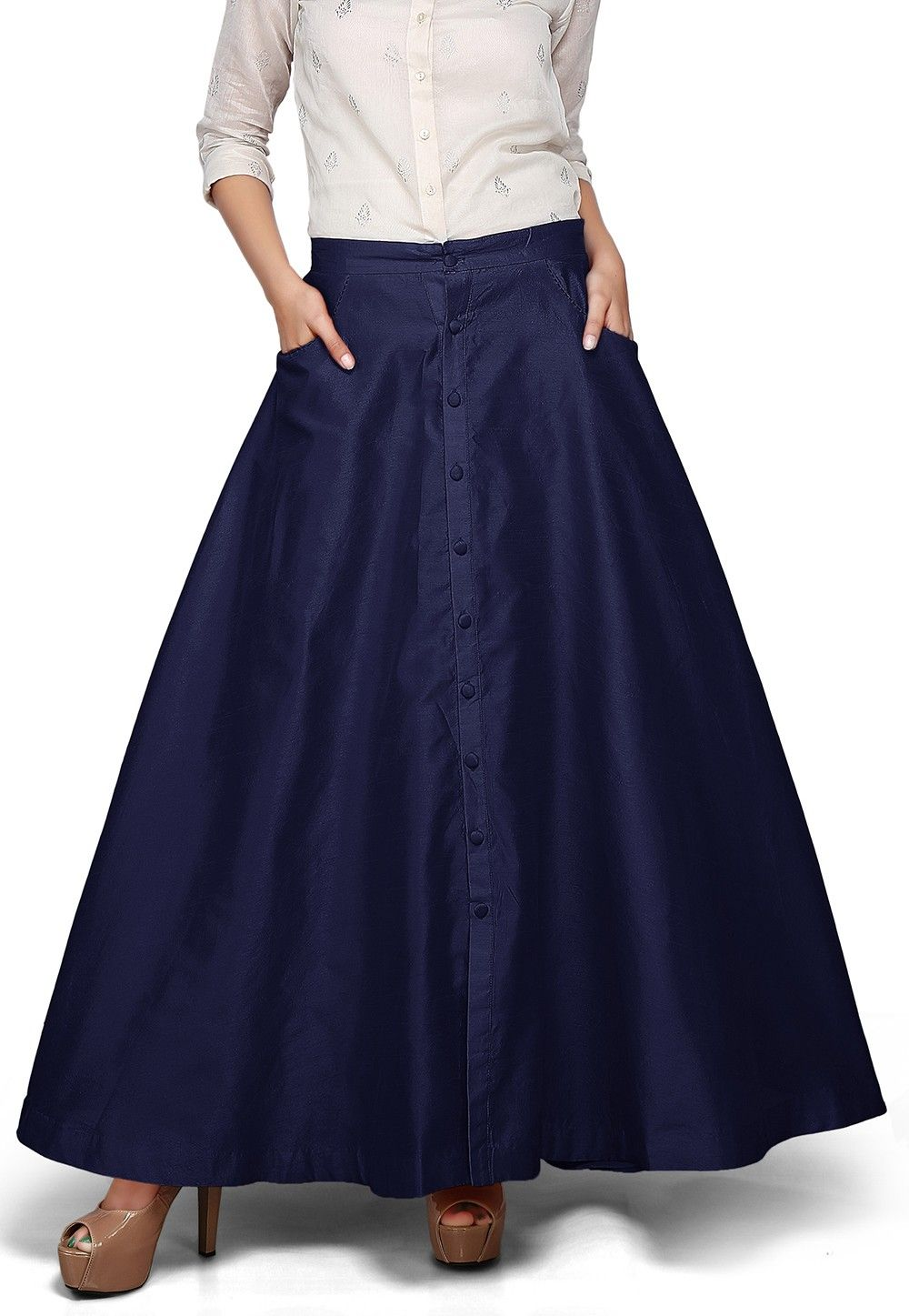 Plain Dupion Silk Long Skirt in Navy Blue