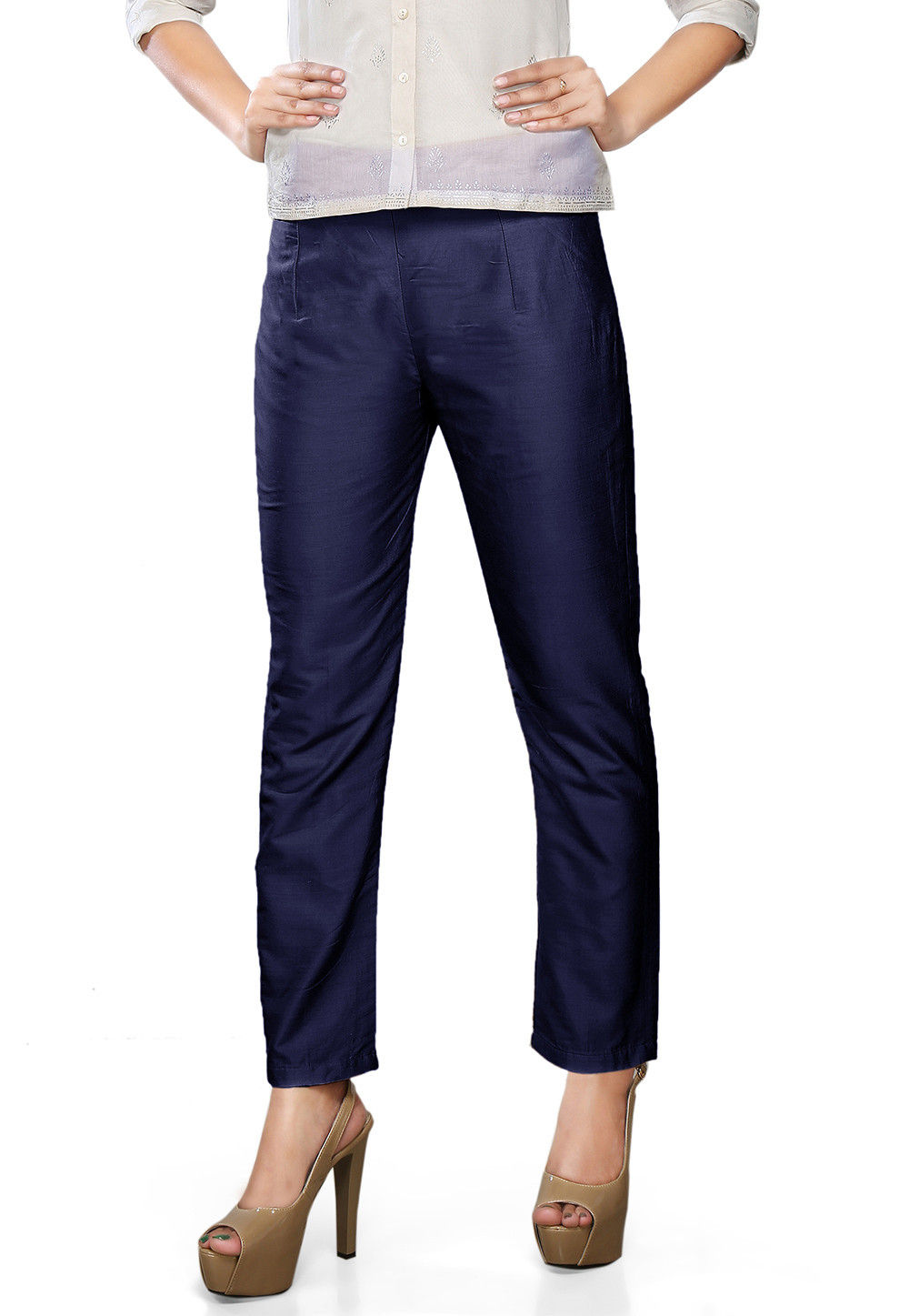 Plain Art Silk Trouser in Navy Blue