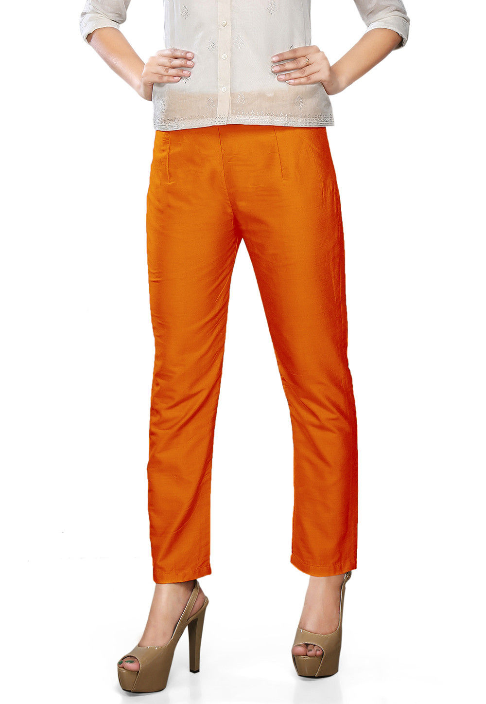 Plain Art Silk Trouser in Orange