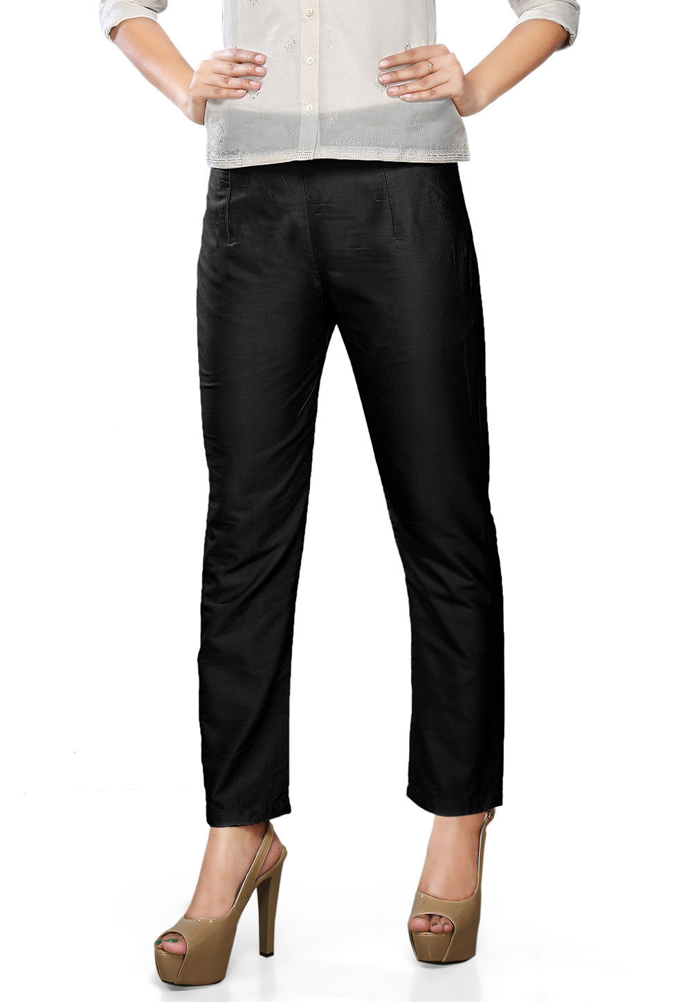 Plain Art Silk Trouser in Black