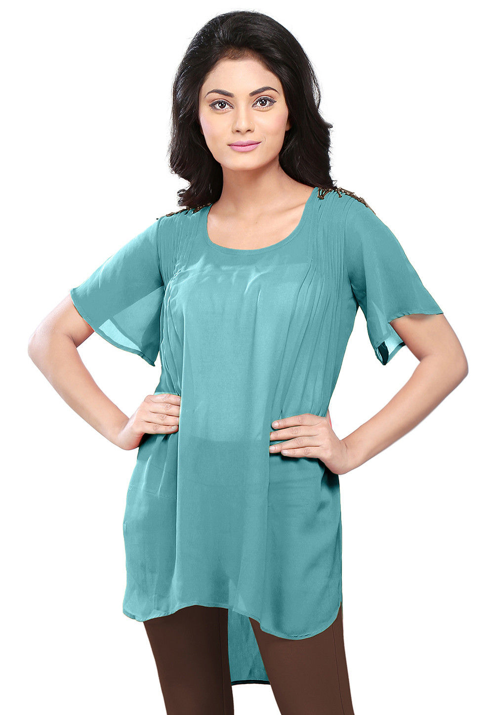 Plain Georgette High Low Tunic in Teal Blue