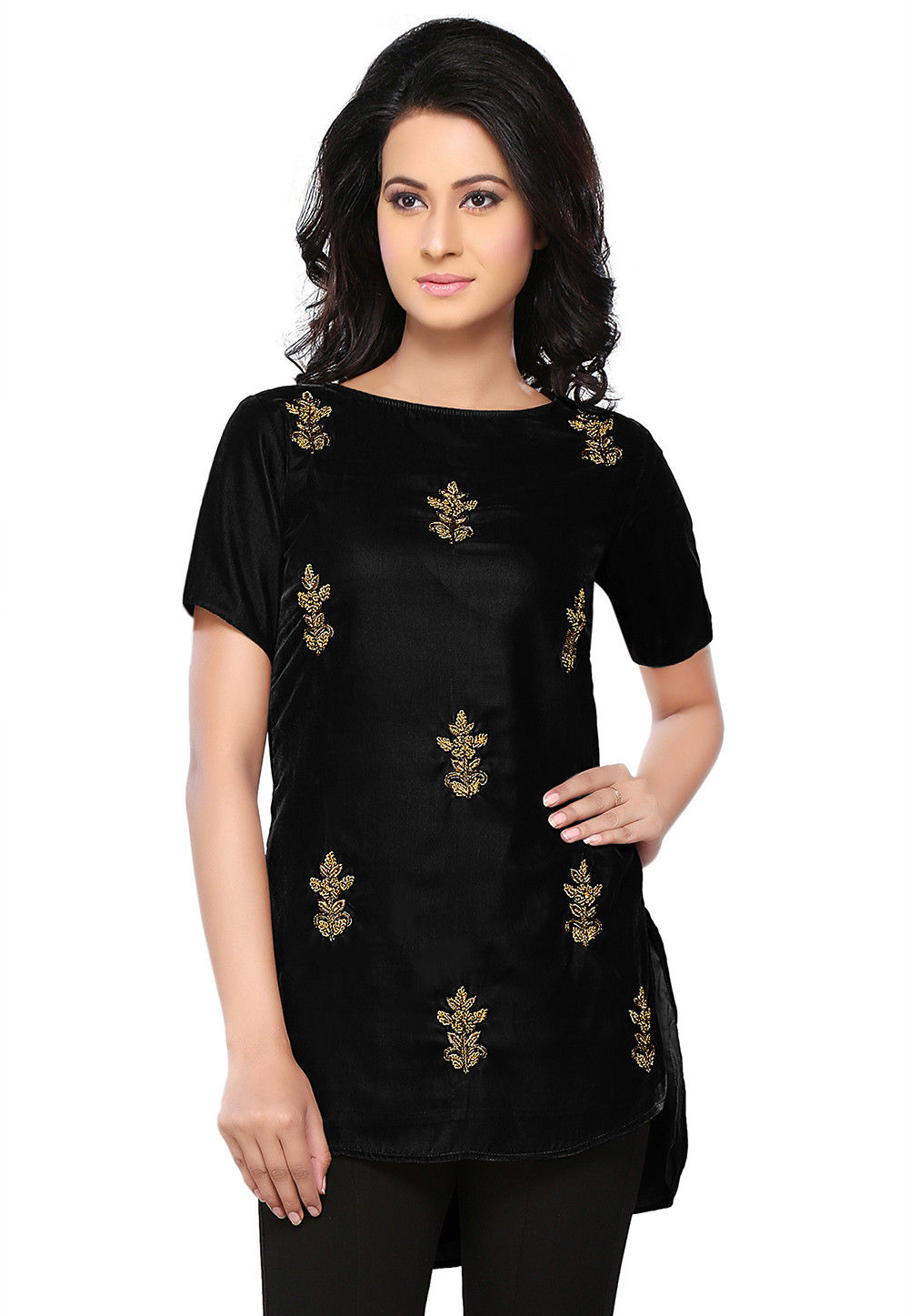 Bullion Velvet Tunic in Black
