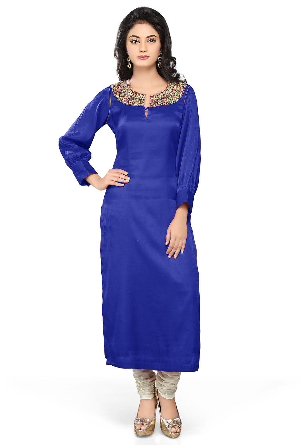 Embroidered Cotton Satin Long Kurta Set in Royal Blue