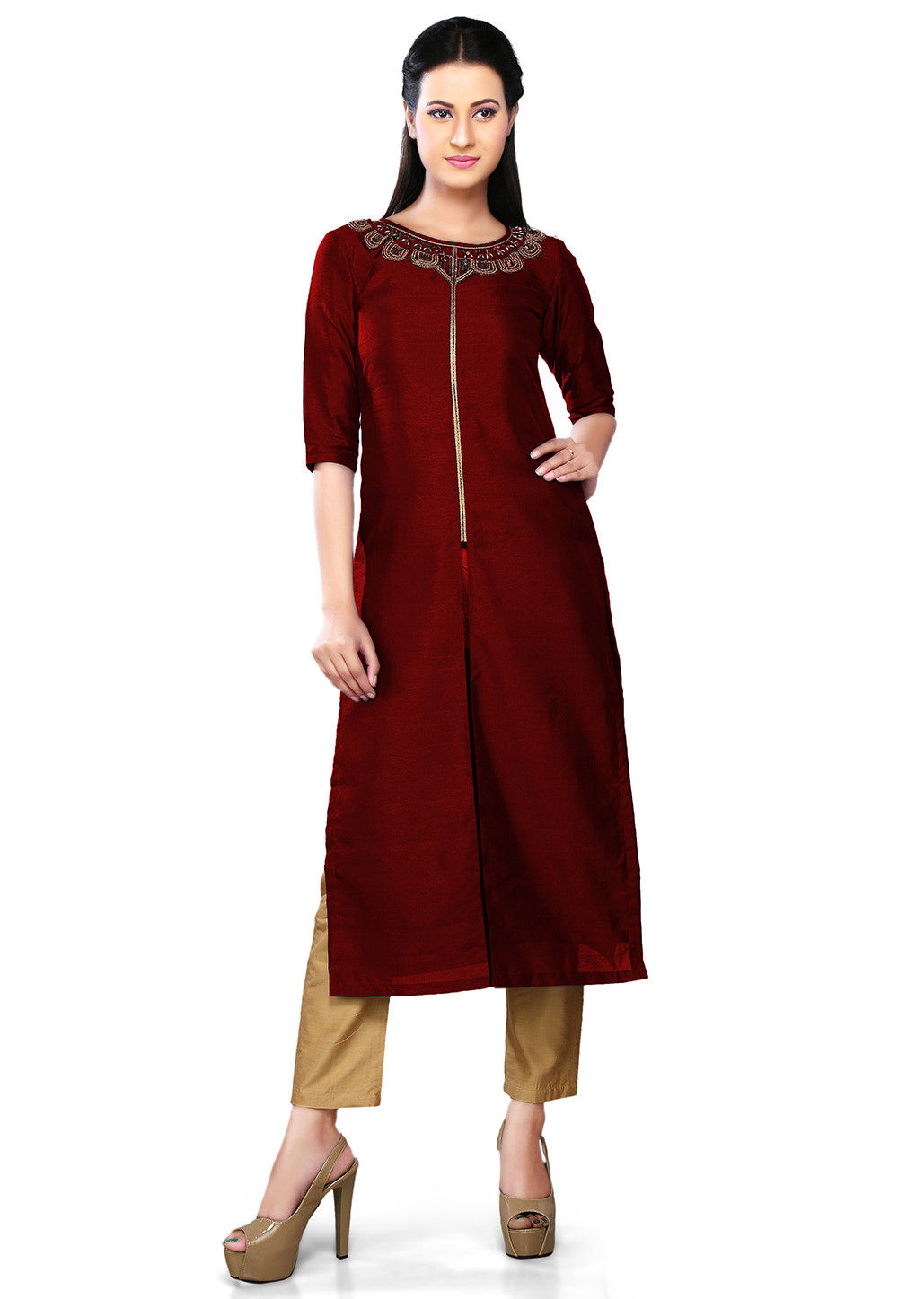 Embroidered Art Silk Front Slit Long Kurta in Maroon
