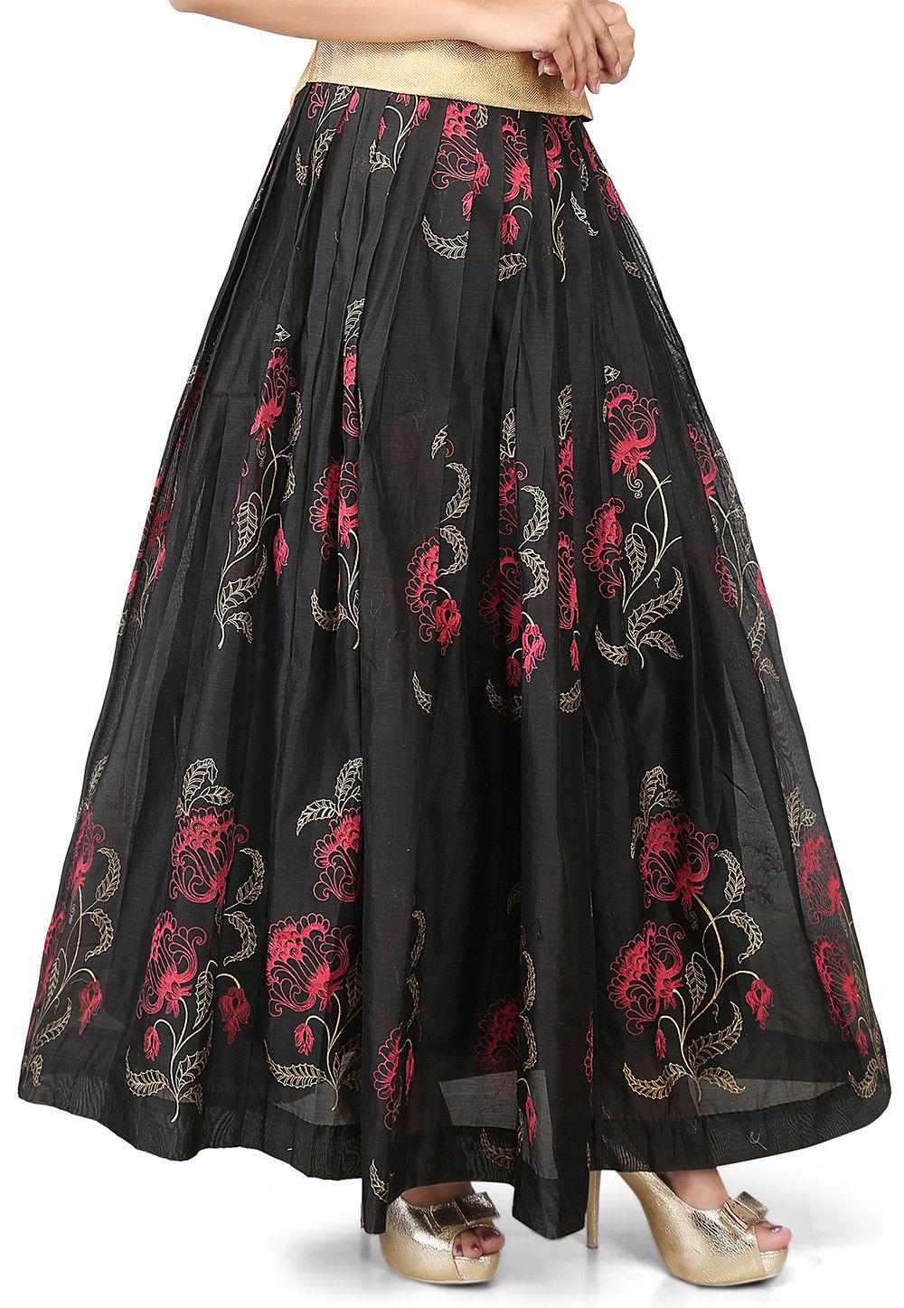 Printed Chanderi Silk Long Skirt in Black
