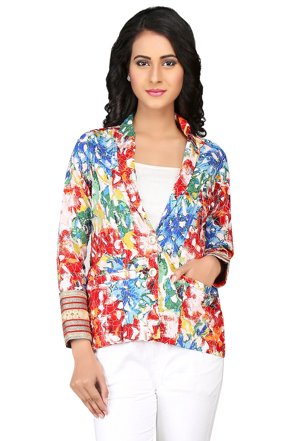 Printed Cotton Jacket in Multicolor