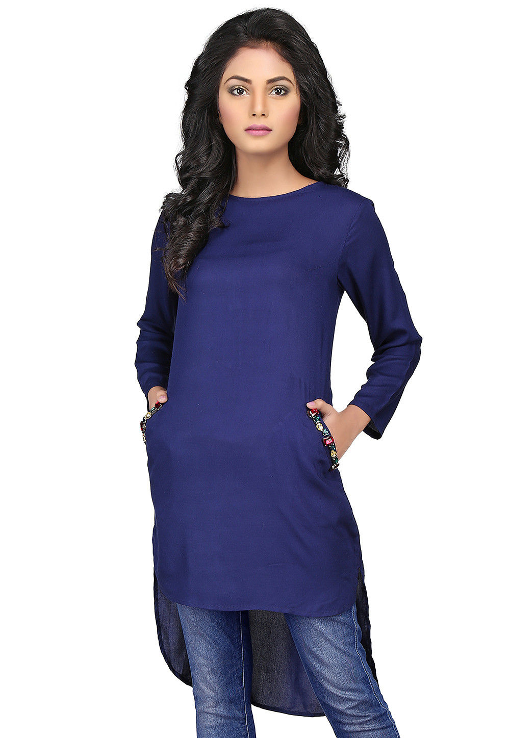 Plain Rayon High Low Tunic in Navy Blue