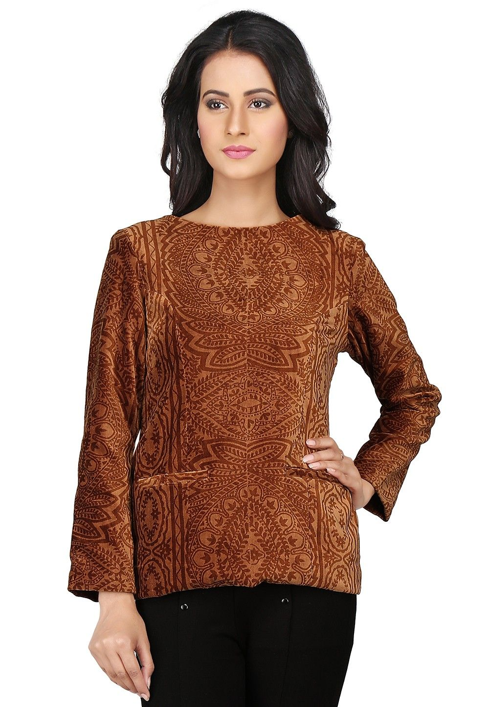 Brasso Velvet Top in Brown