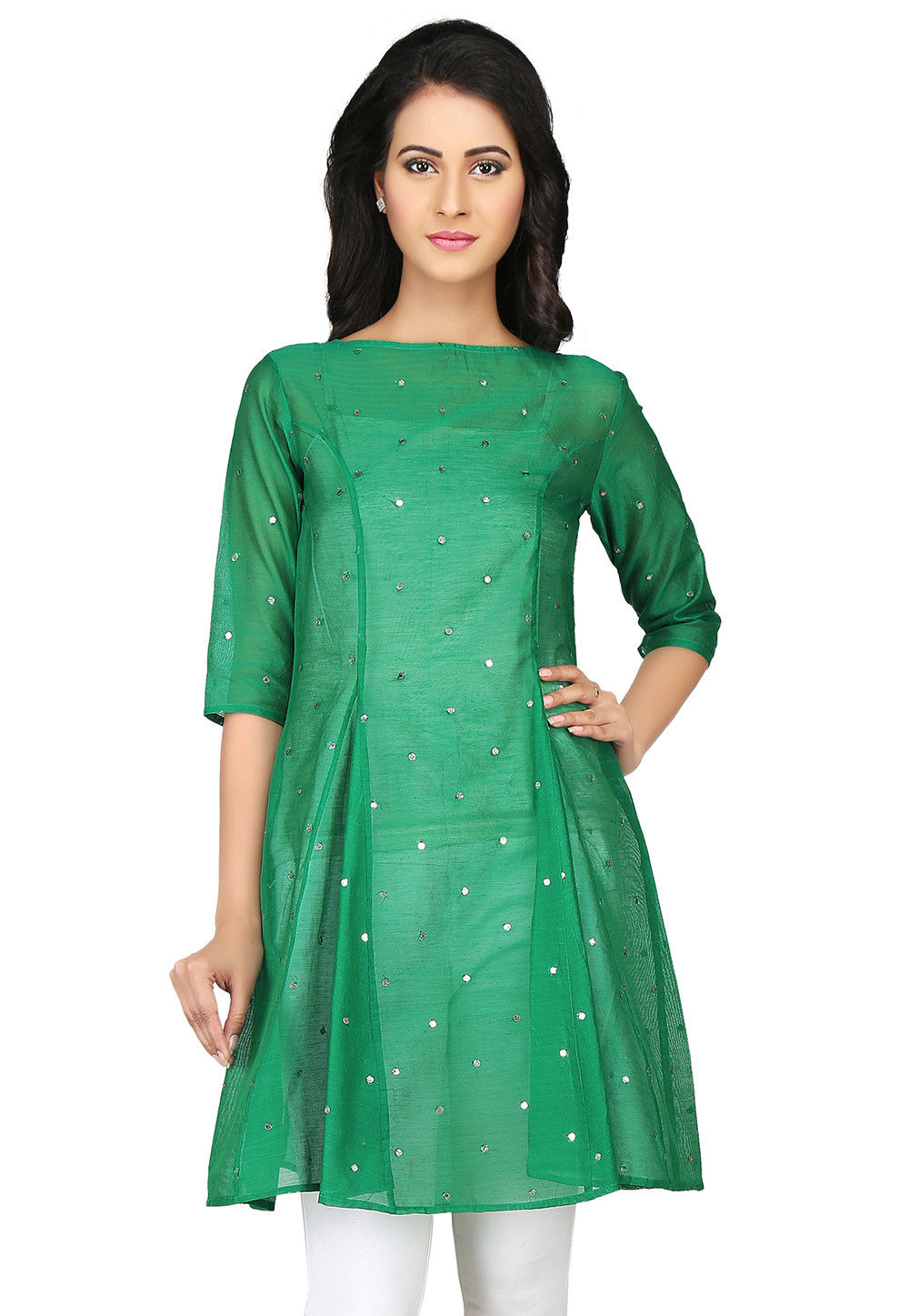 Embroidered Chanderi Silk Tunic in Green