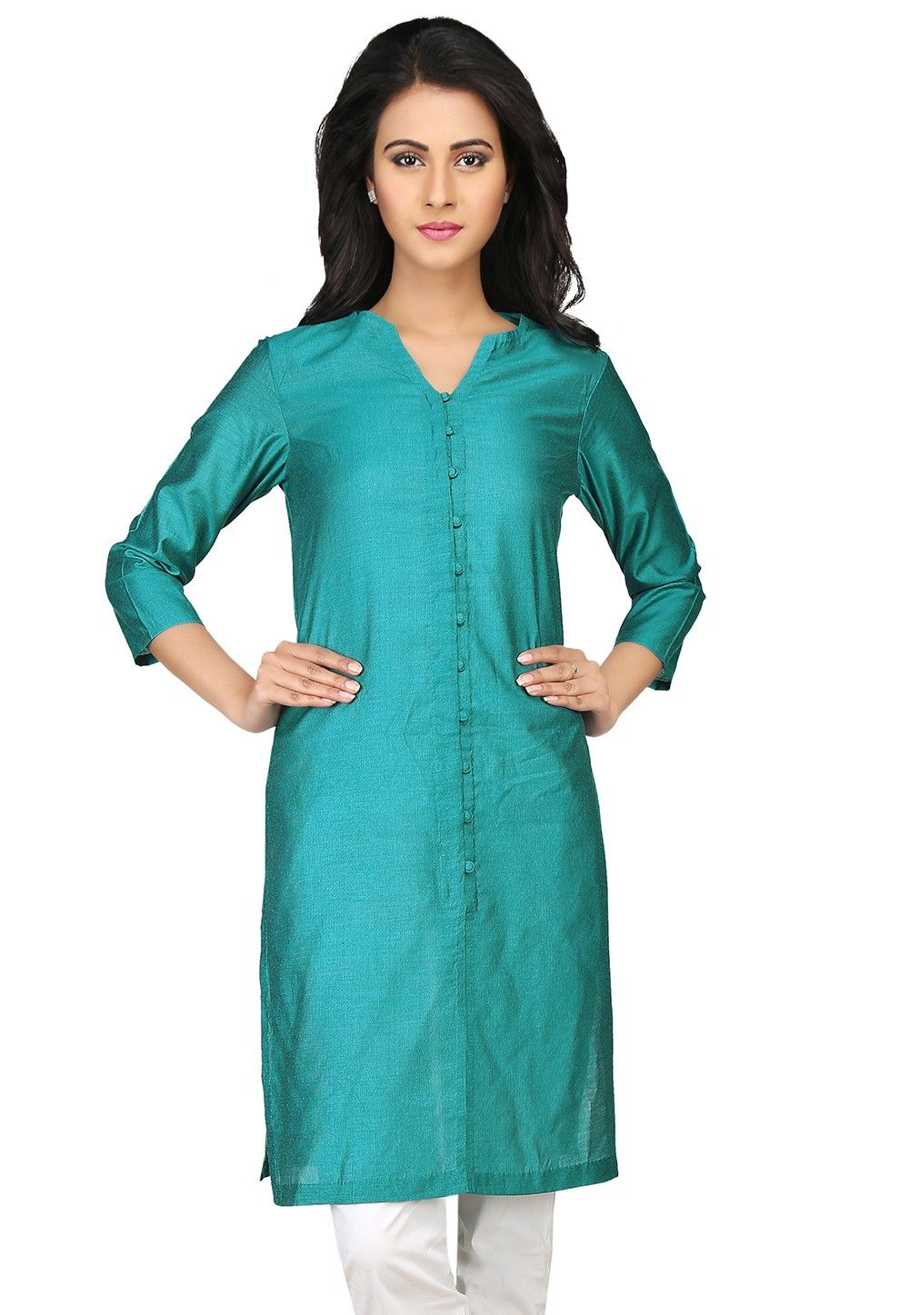 Plain Cotton Viscose Kurta in Teal Blue