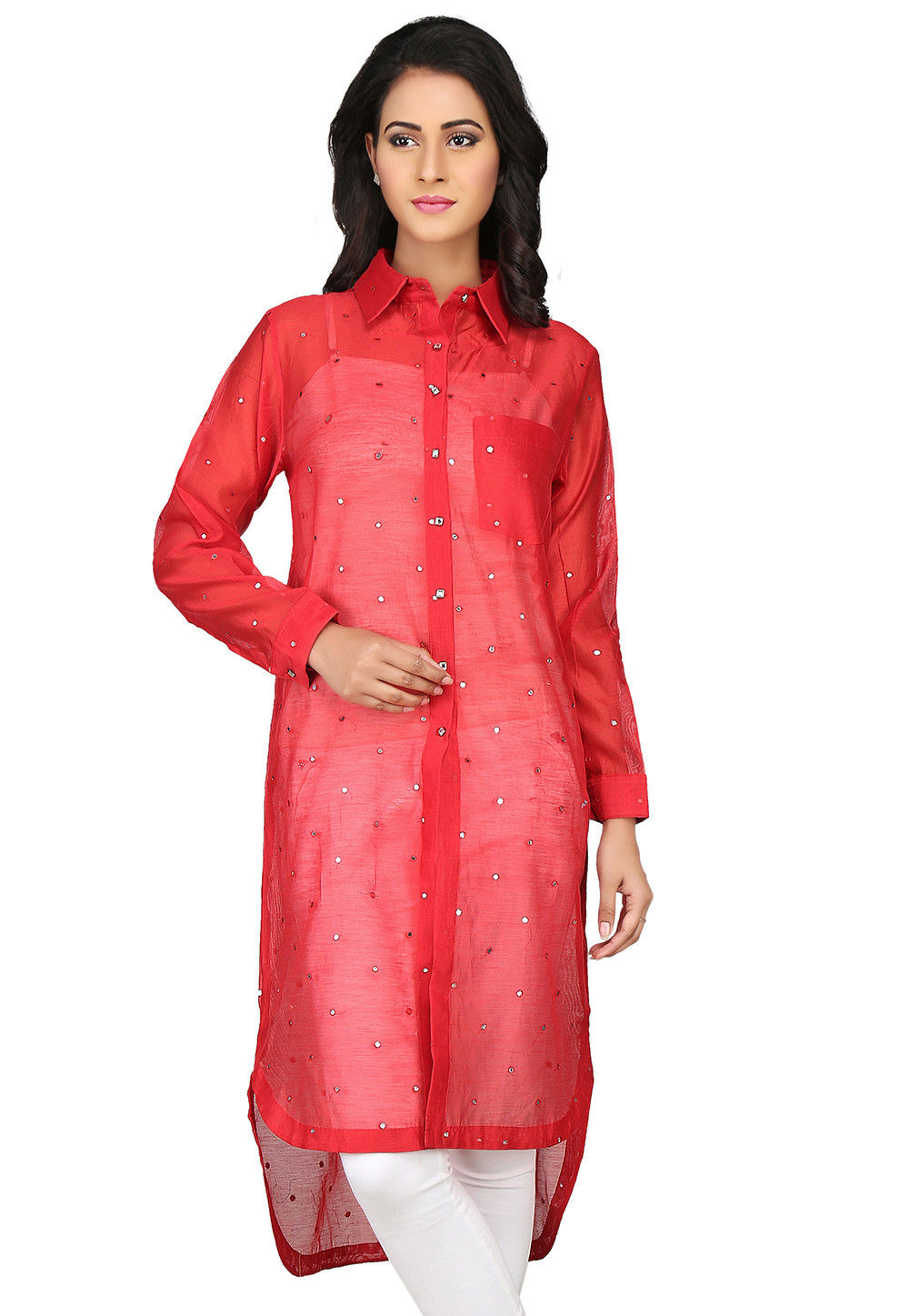 Embroidered Chanderi Silk High Low Kurta in Red