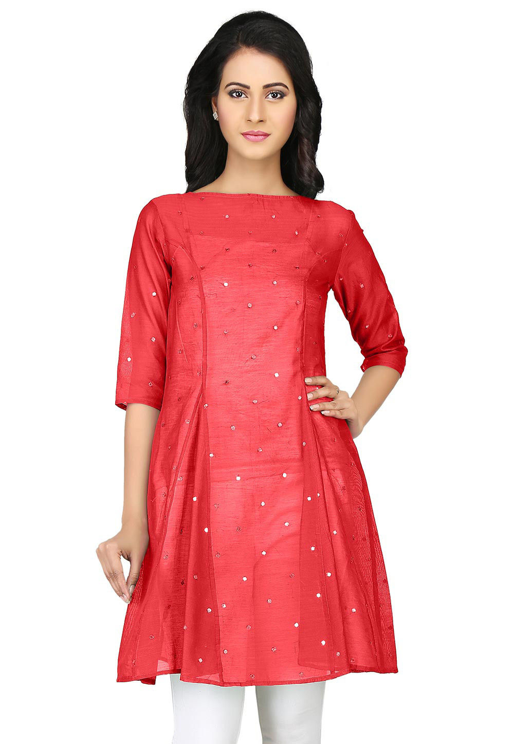Embroidered Chanderi Tunic in Red