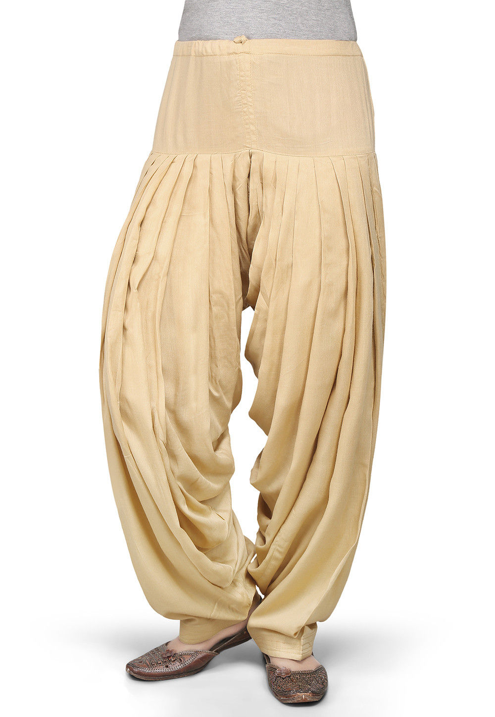 Plain Rayon Patiala in Beige