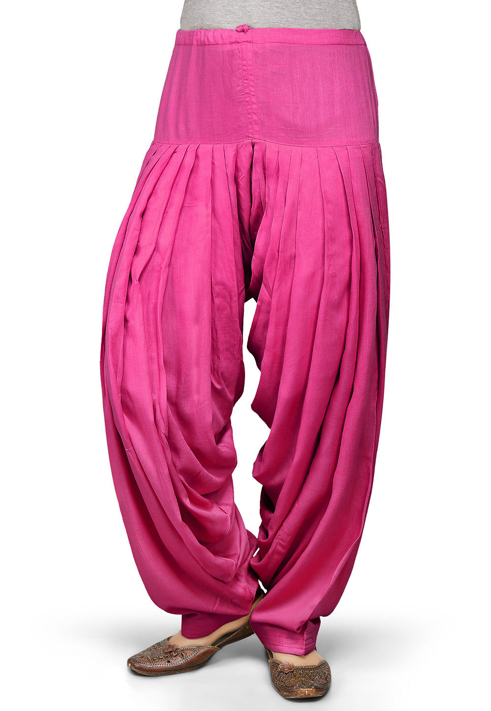 Plain Rayon Patiala in Fuchsia