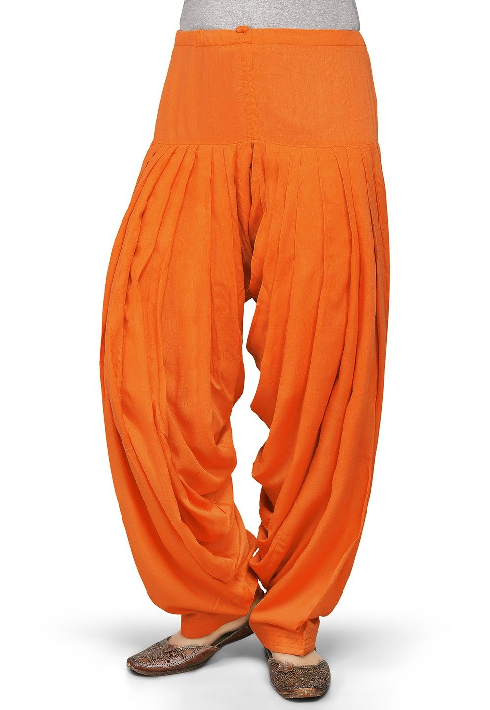Plain Rayon Patiala in Orange