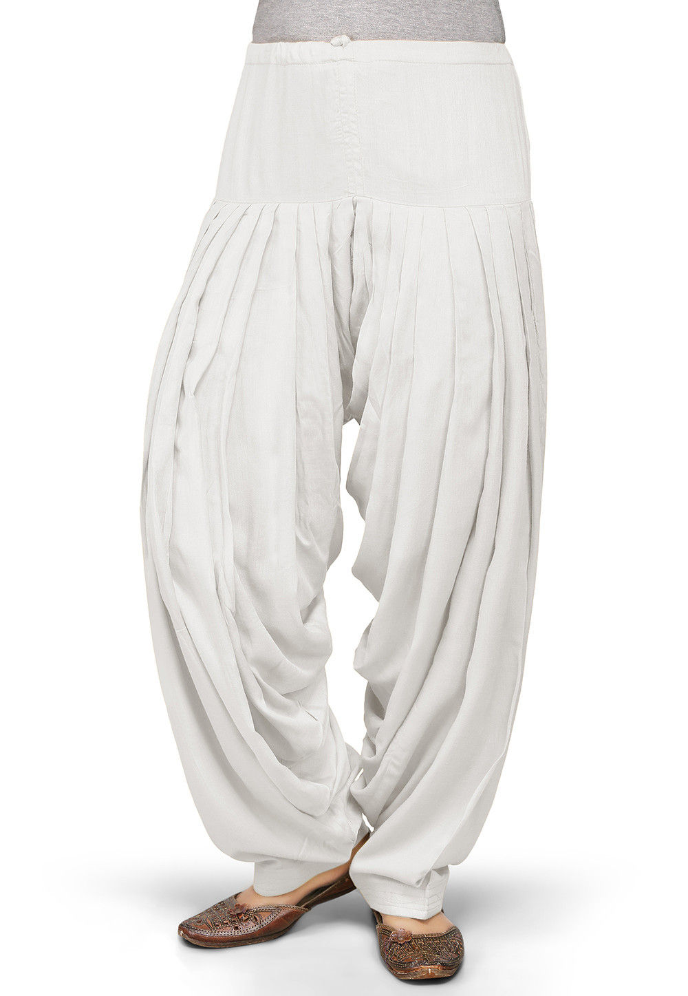 Plain Rayon Patiala in Off White