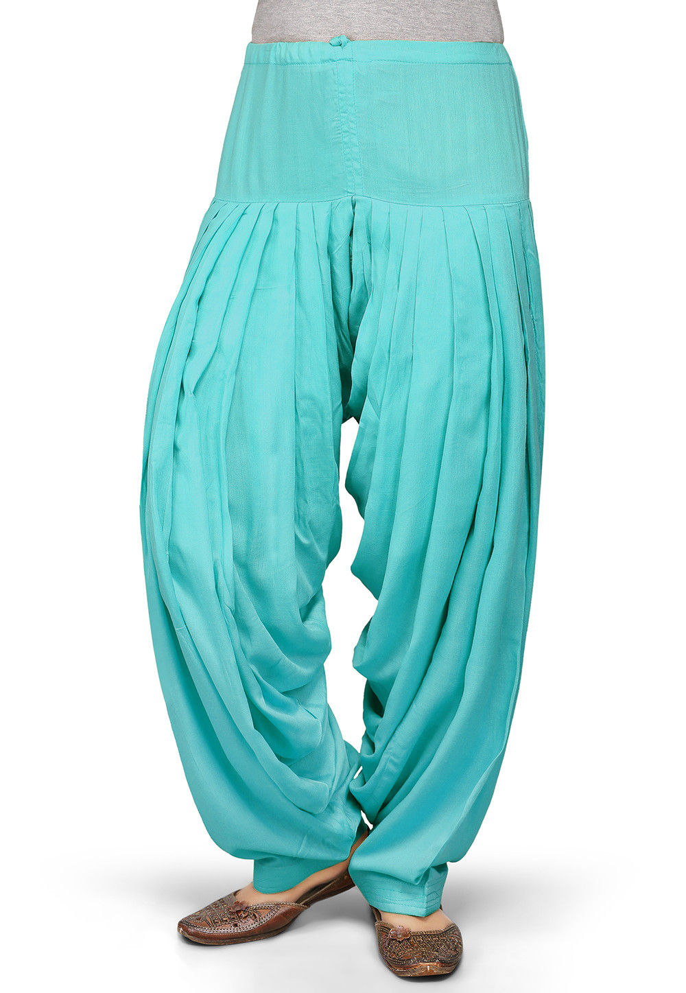 Plain Rayon Patiala in Turquoise