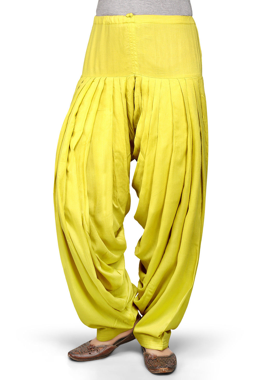 Plain Rayon Patiala in Yellow