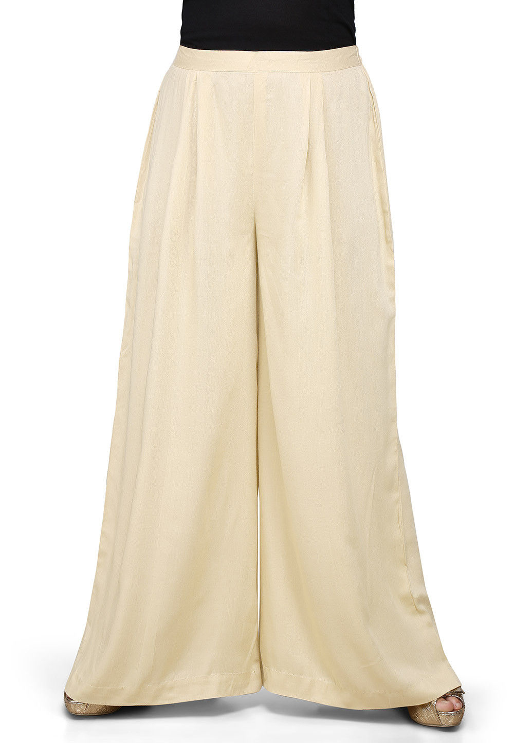 Plain Rayon Palazzo in Light Beige