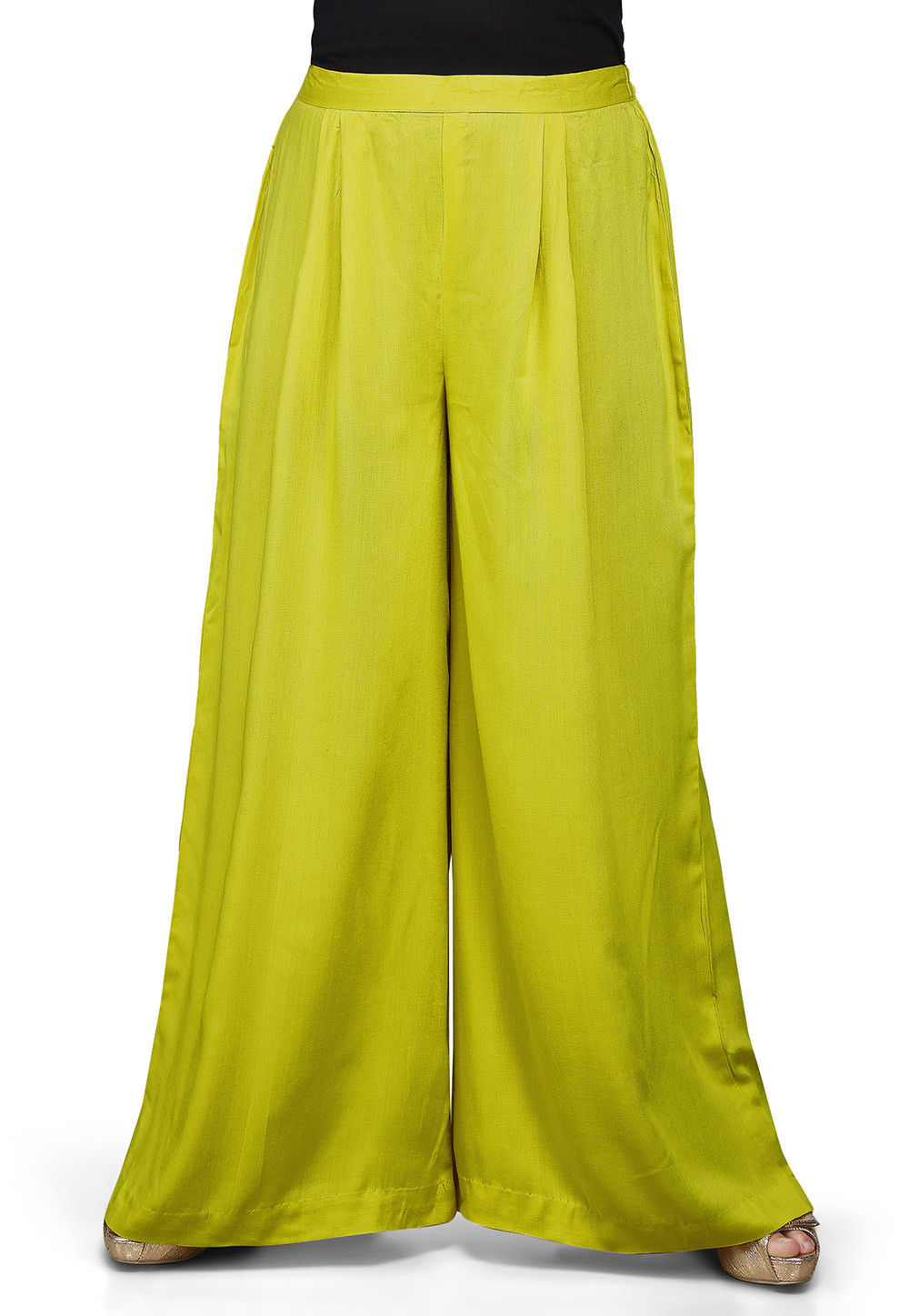 Plain Rayon Palazzo in Olive Green