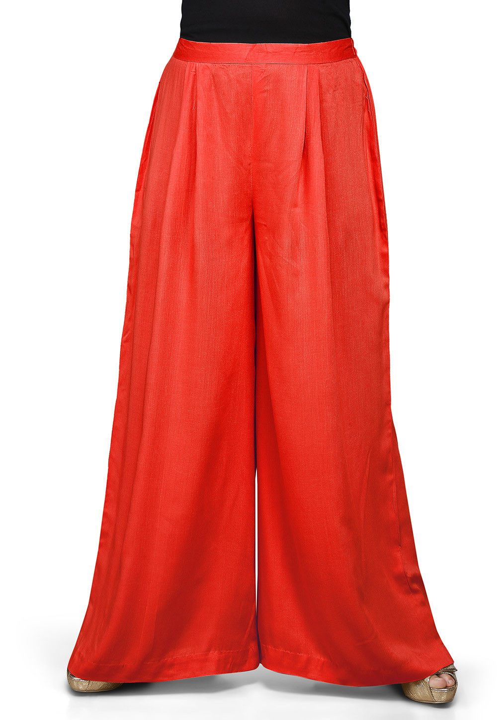 Plain Rayon Palazzo in Red