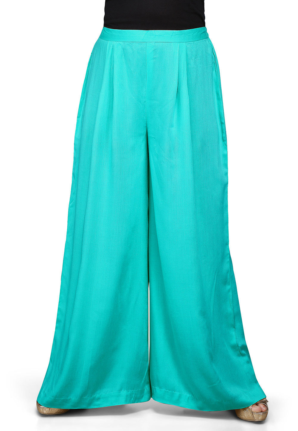 Plain Rayon Palazzo in Turquoise