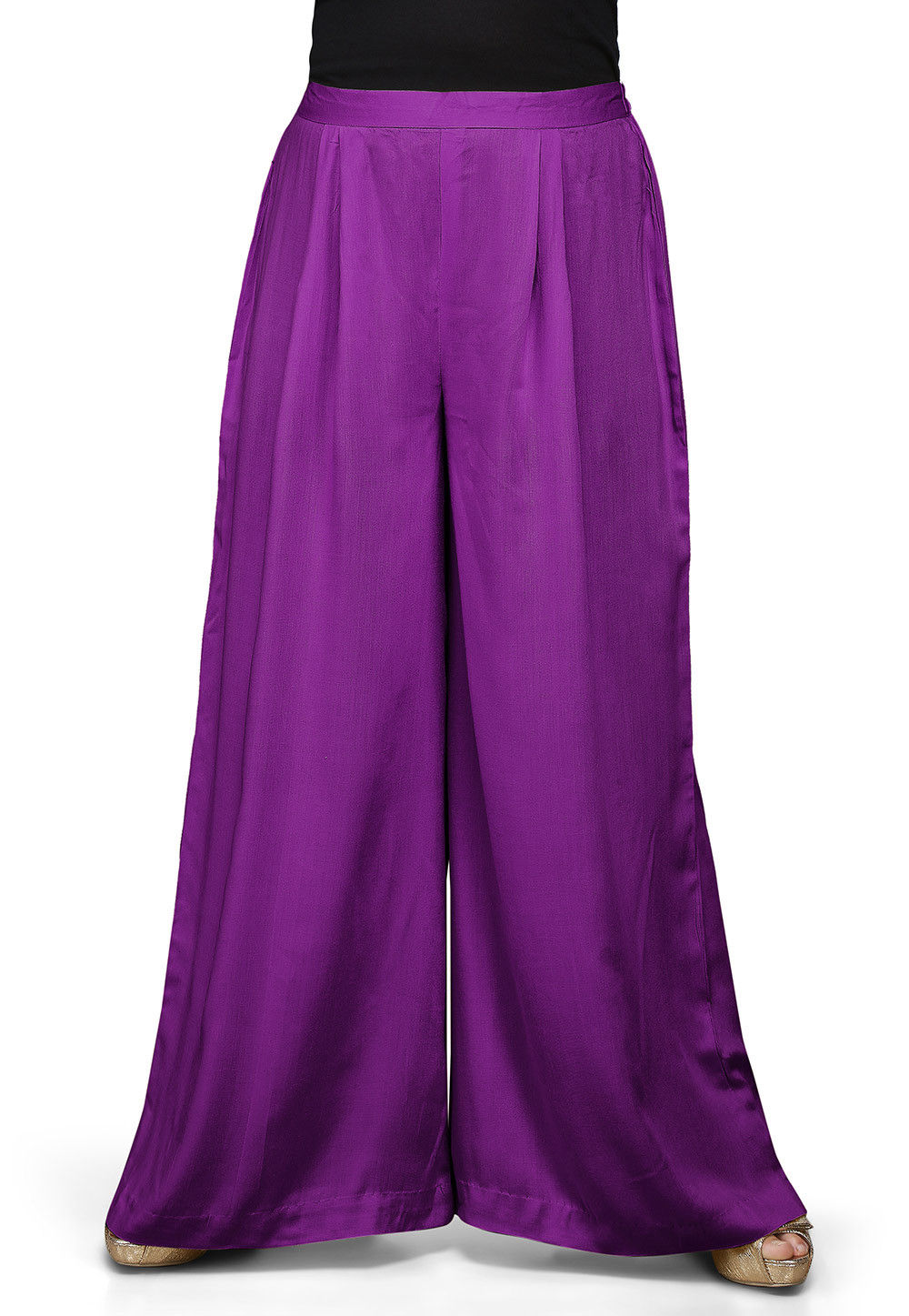 Plain Rayon Palazzo in Violet