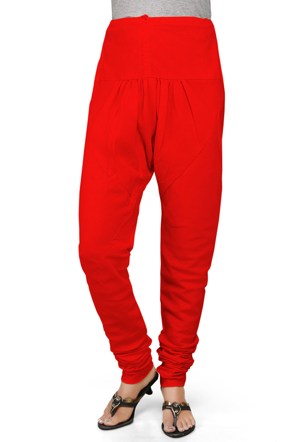 Plain Cotton Churidar in Red