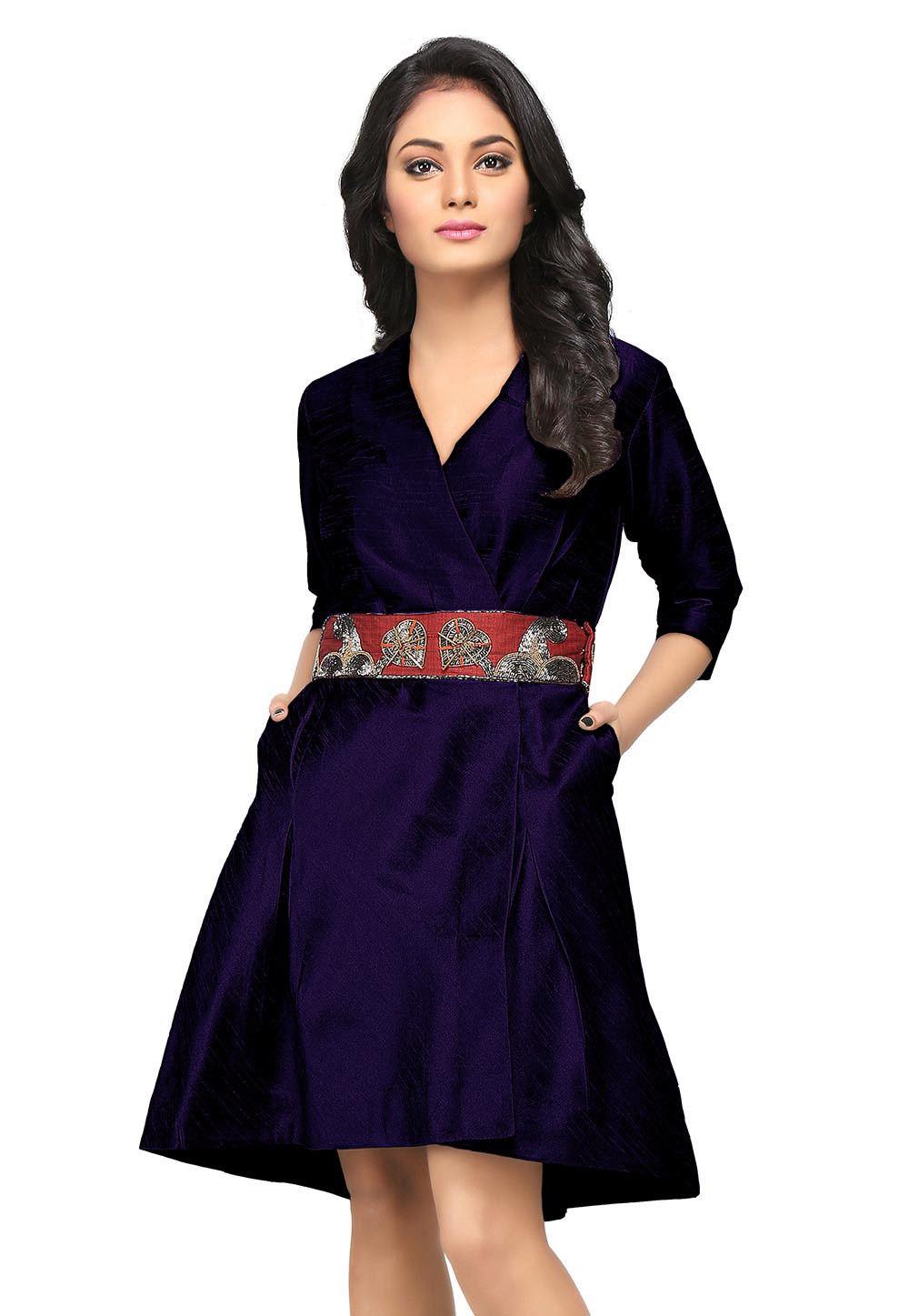 Embroidered Raw Silk Dress in Dark Blue