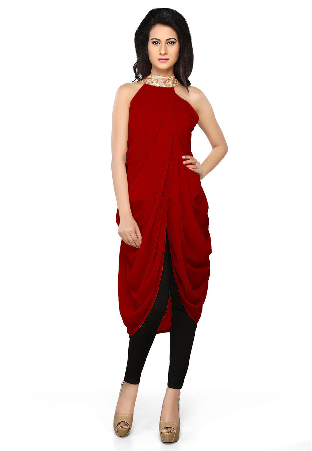 Plain Georgette Tunic in Red