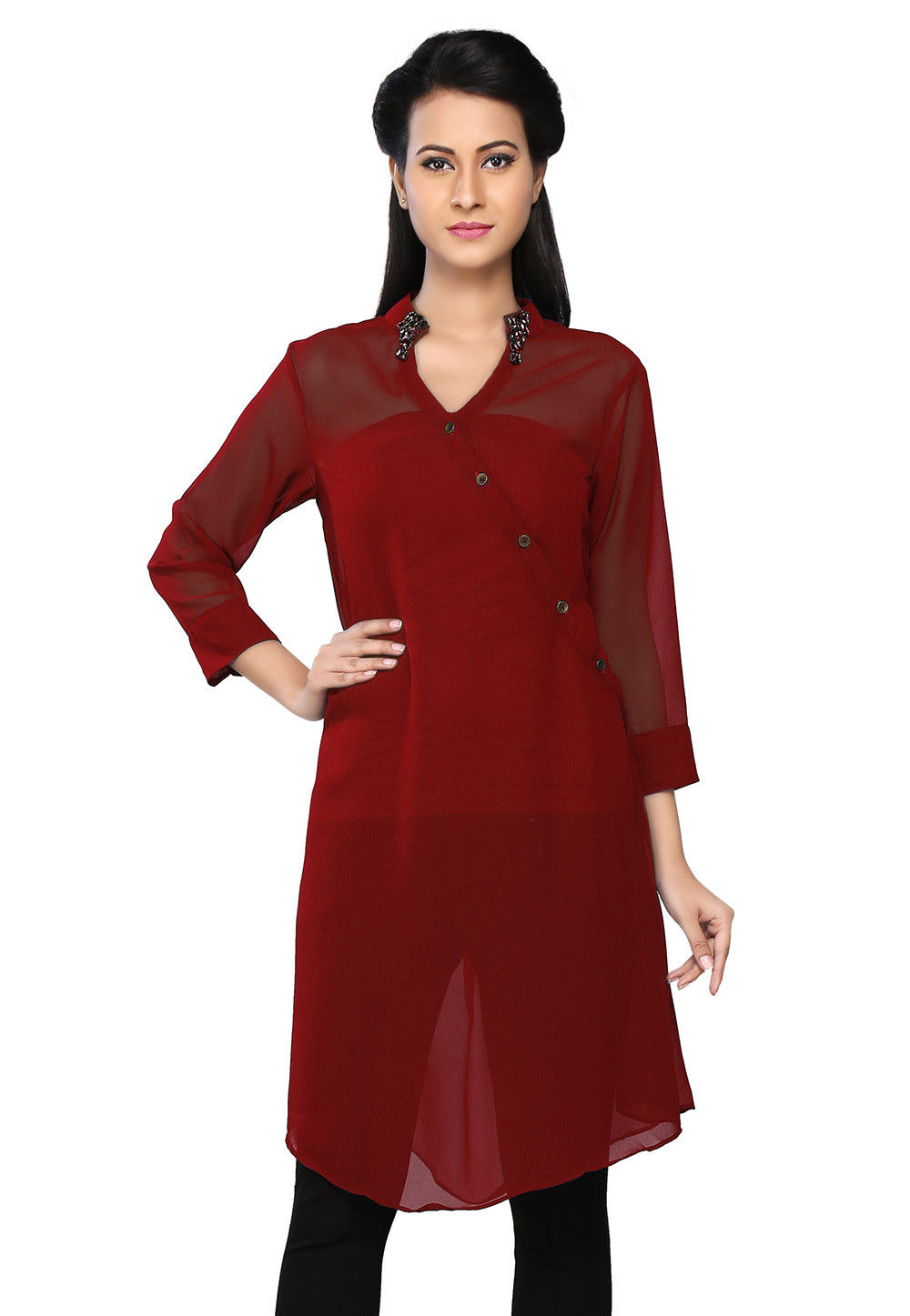 Plain Georgette Kurta in Maroon