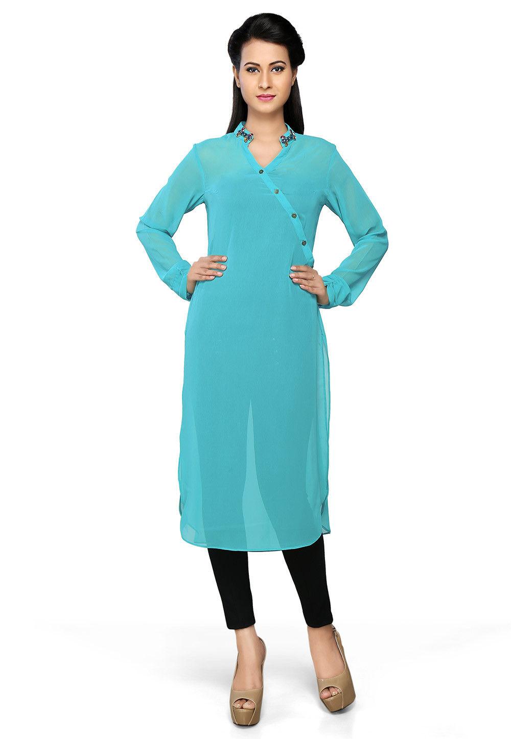Plain Georgette Kurta in Turquoise
