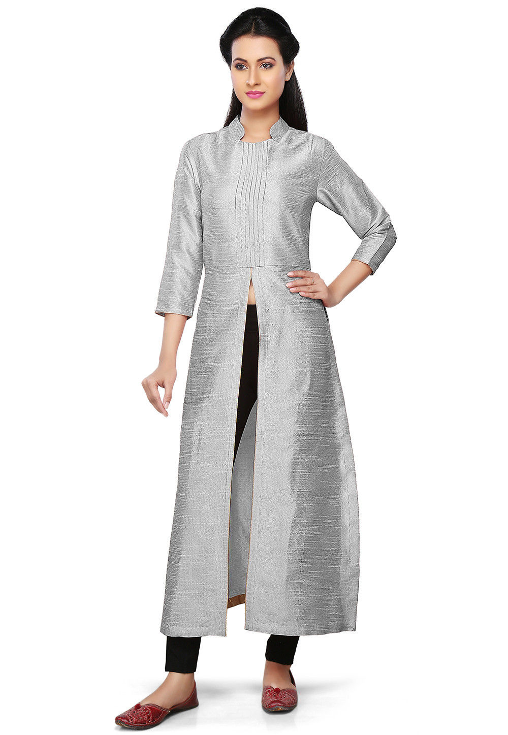 Plain Art Silk Kurta in Grey