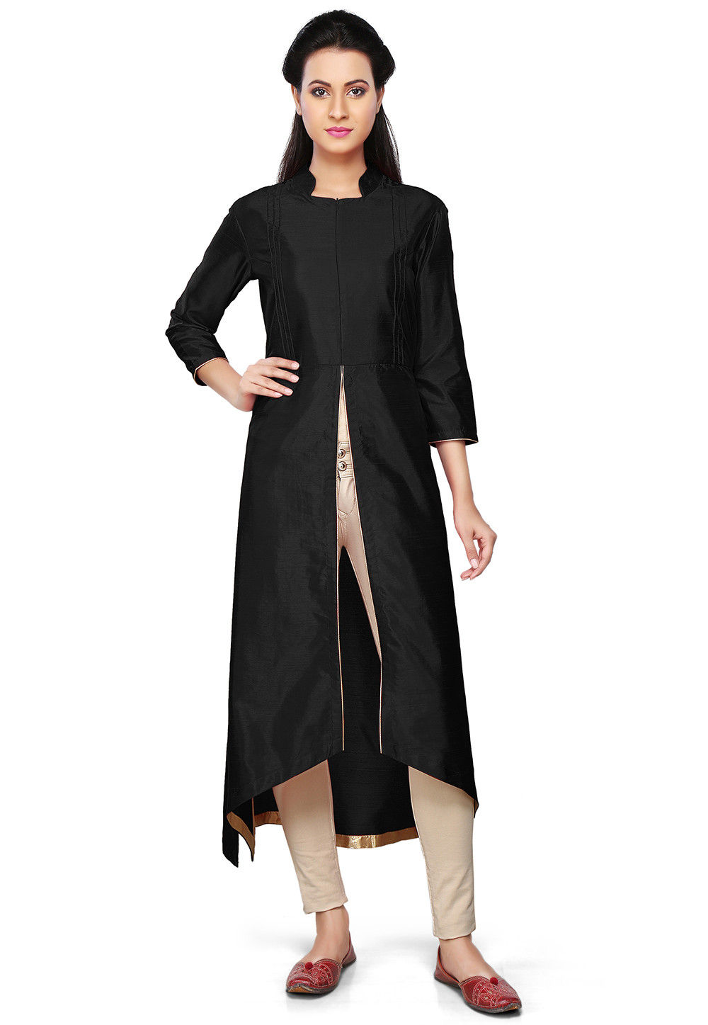 Plain Art Silk Asymmetric Kurta in Black