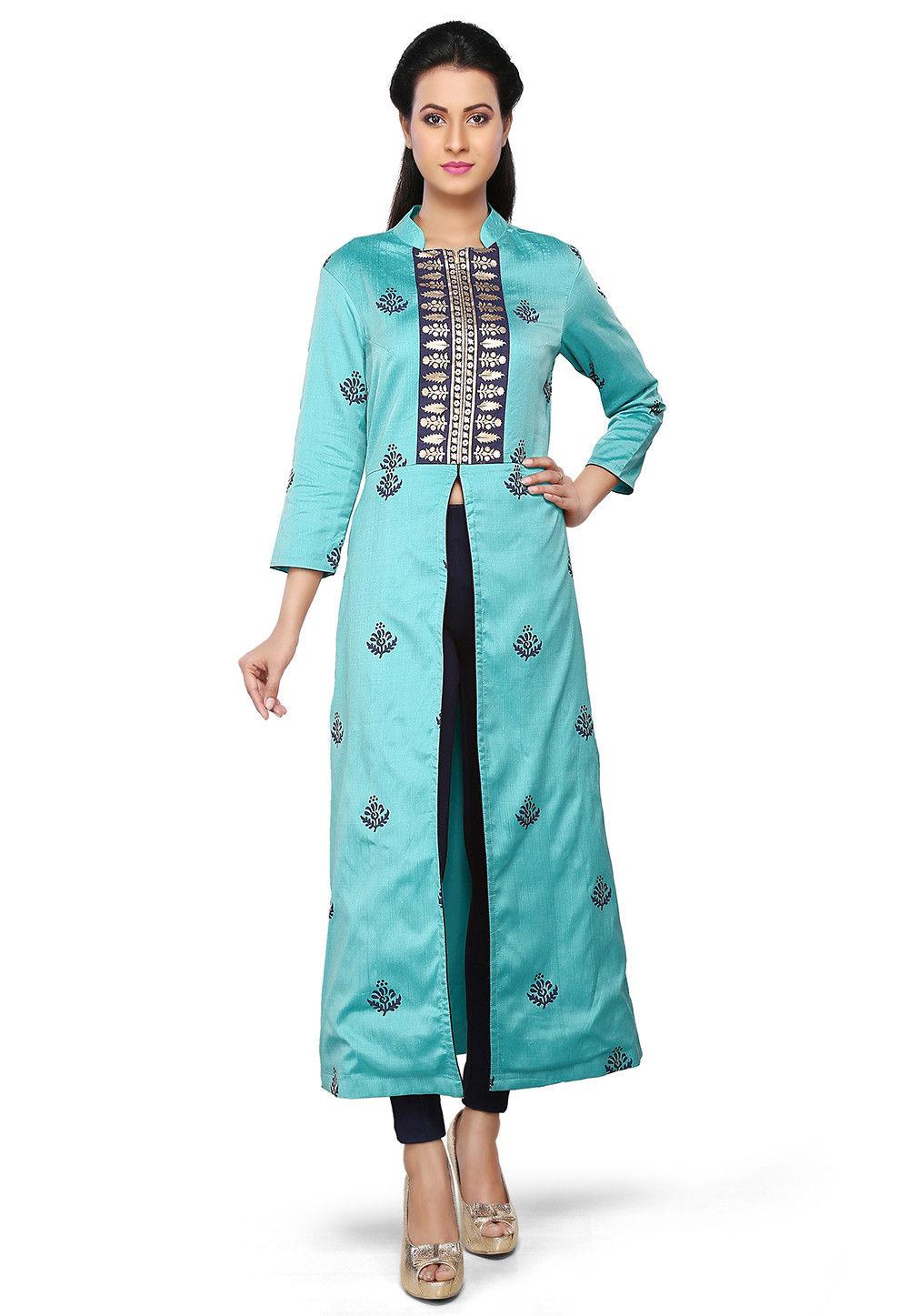 Printed Cotton Silk Kurta in Turquoise