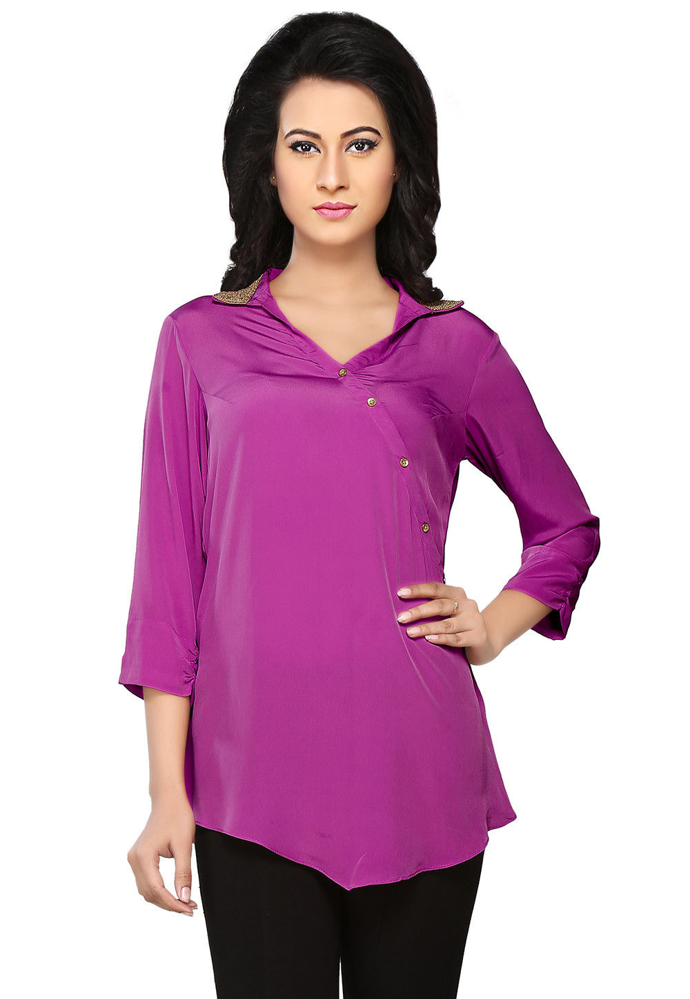 Plain Crepe Top in Purple