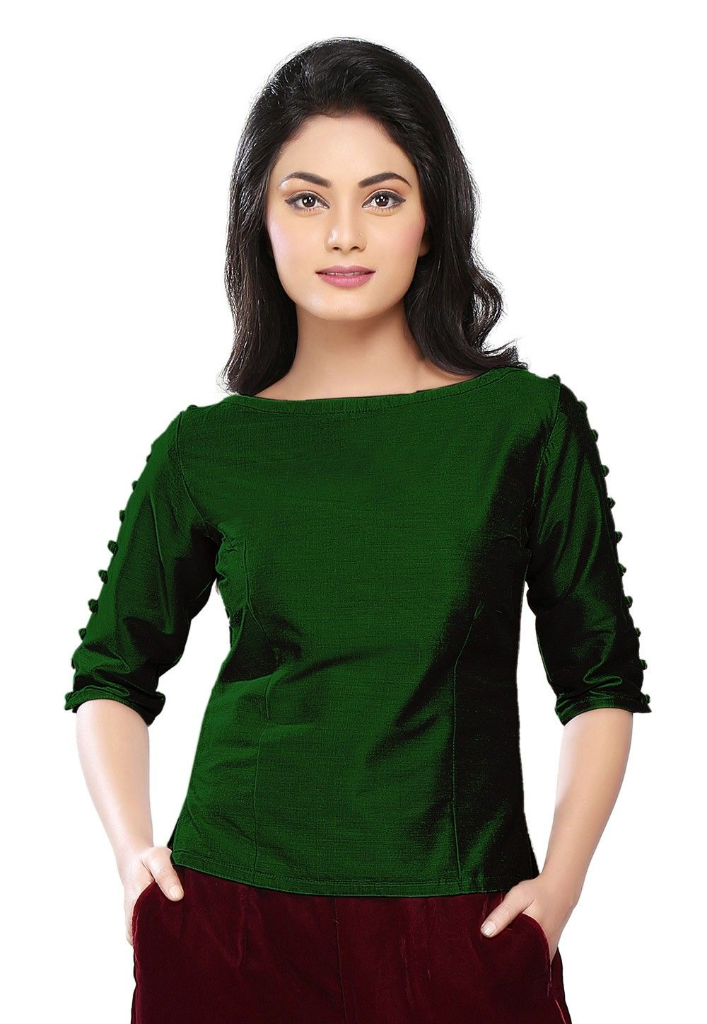 Dupion Silk Top In Dark Green Thu771