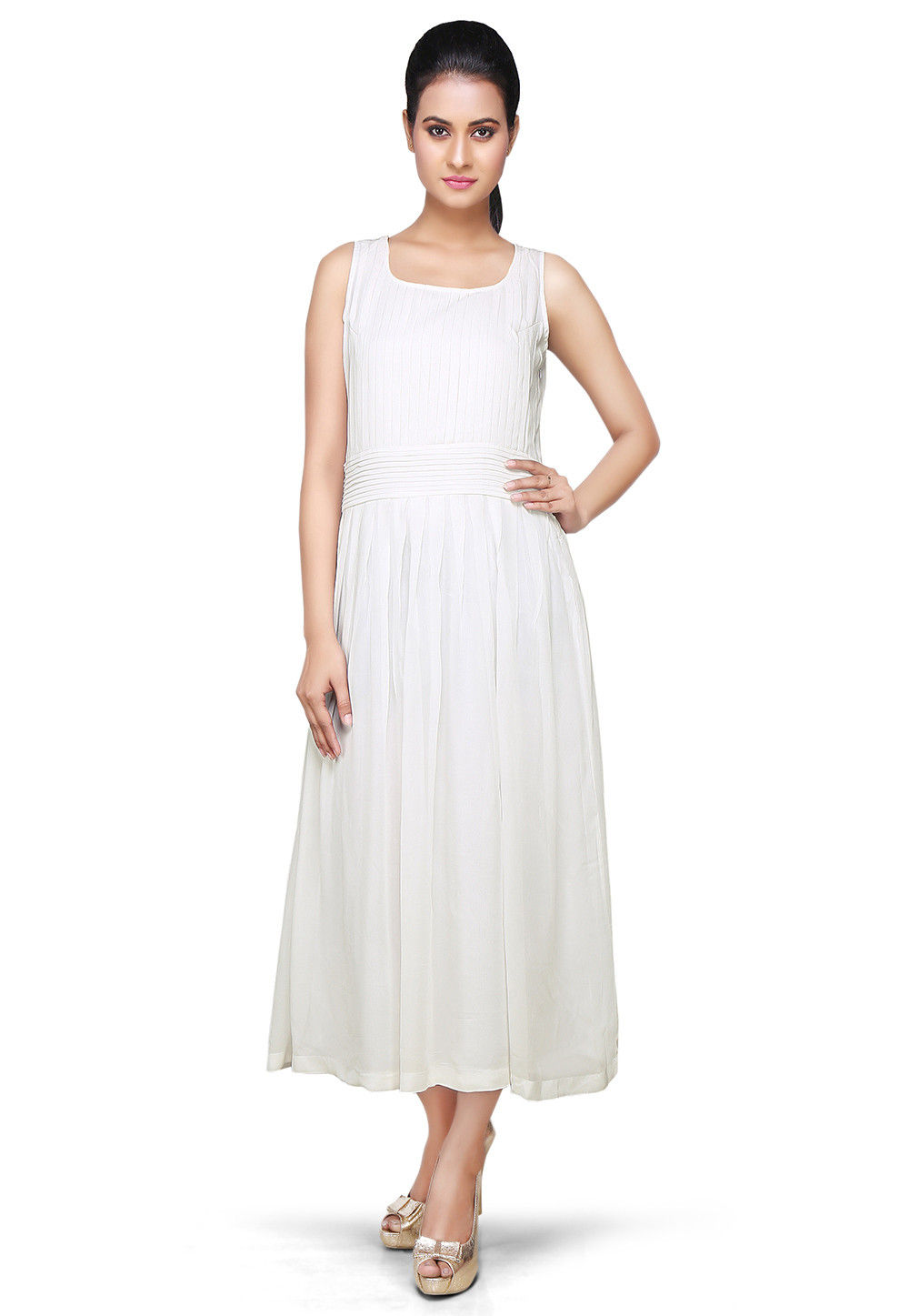 Pleated Georgette Maxi Dress In Off White