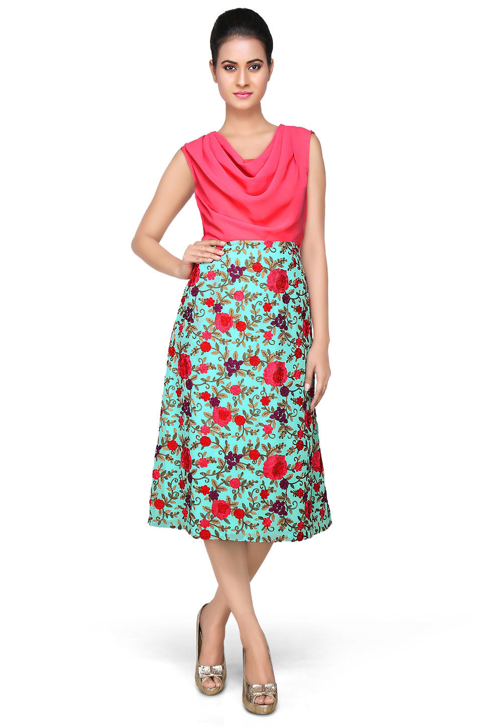 Embroidered Georgette Dress In Pink and Turquoise