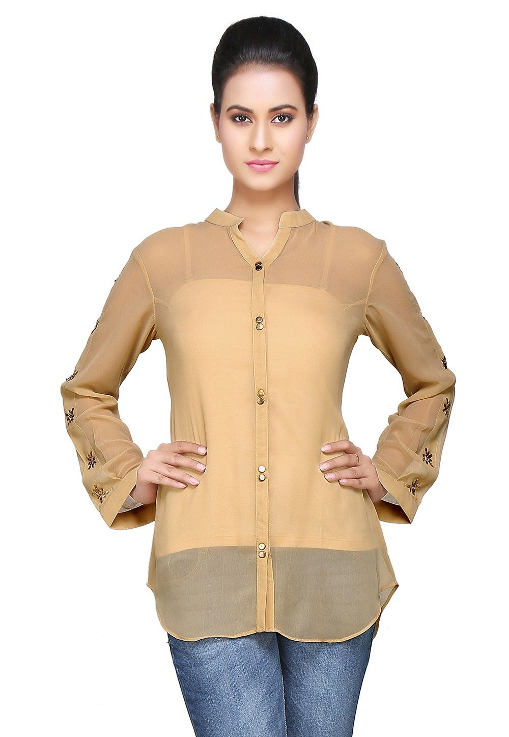Embroidered Georgette Top In Beige