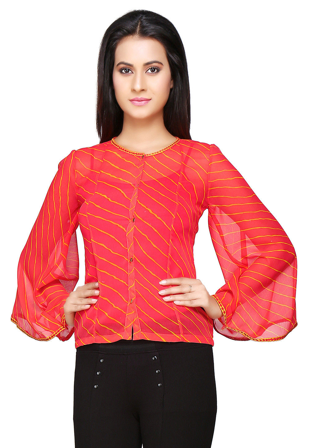 Leheriya Printed Georgette Top in Coral and Yellow