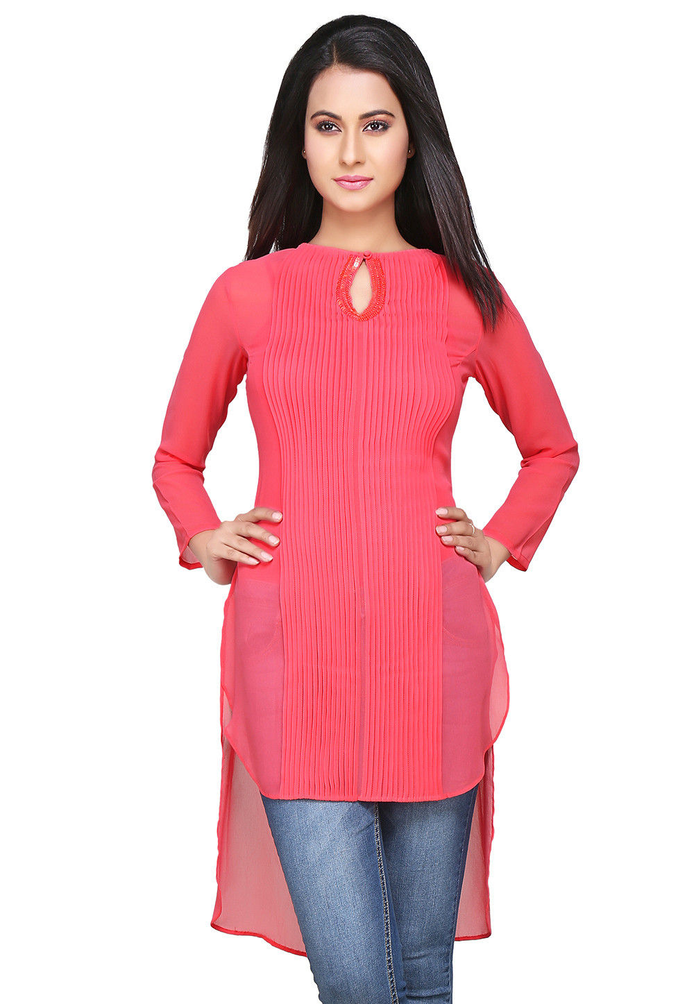Embroidered Georgette Tunic In Pink