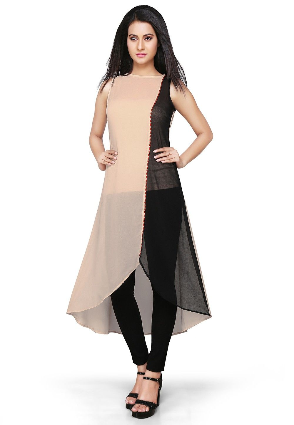 Asymmetric Georgette Long Kurta In Beige and Black