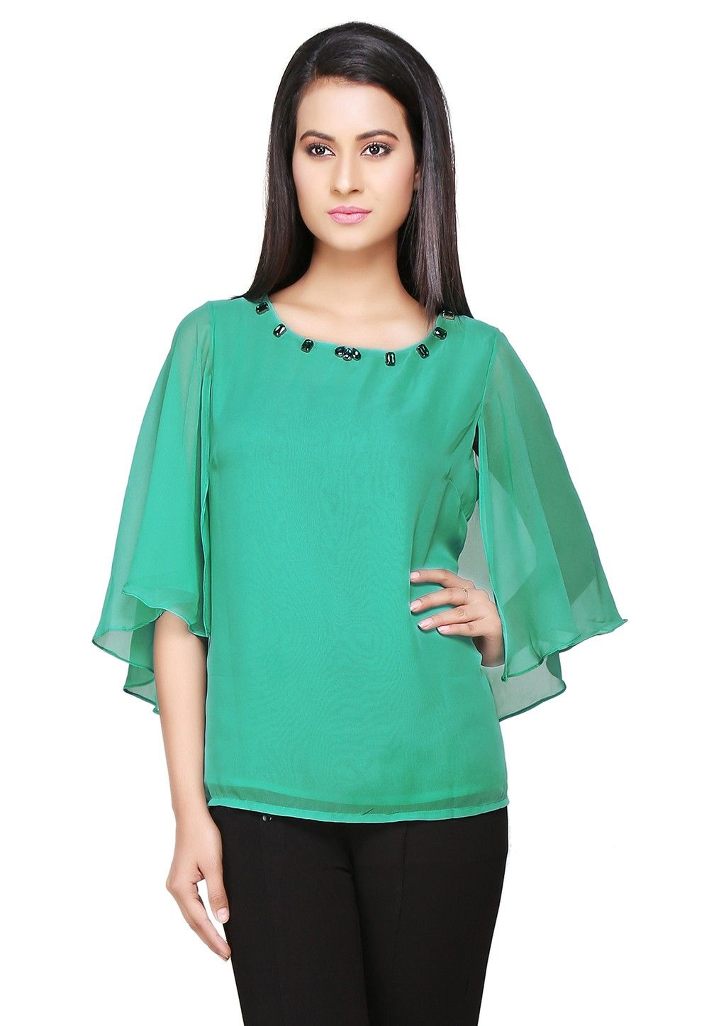 Cape Style Georgette Top In Teal Green