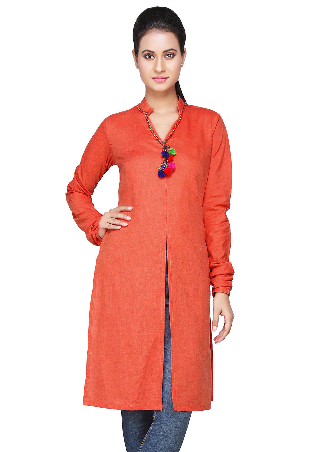 South Cotton Kurti In Orange