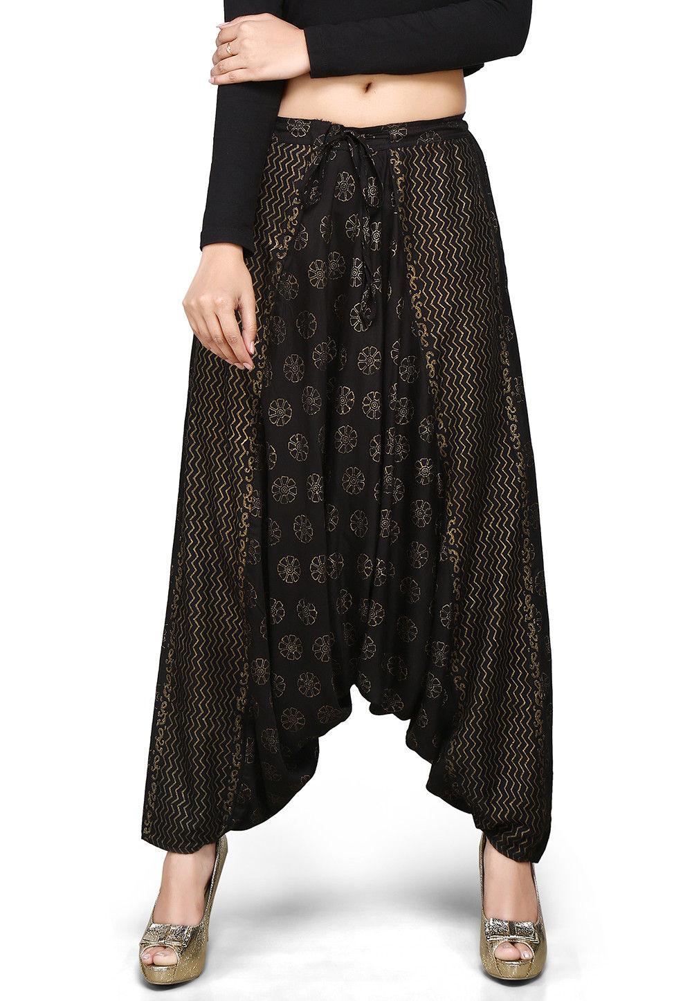 Block Printed Rayon Zouave Pant in Black